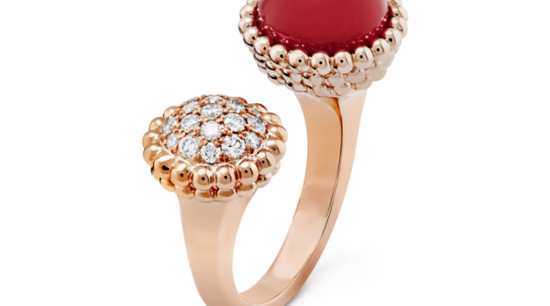 Van Cleef & Arpels Perlée - pink gold, carnelian, and round diamonds