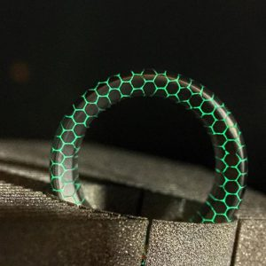 RoboCroc lives!!!! The deep acid etched Copperhead superconductor ring, with lume resin infill. The result is a solid proof-of-concept! See it at SalonQP.