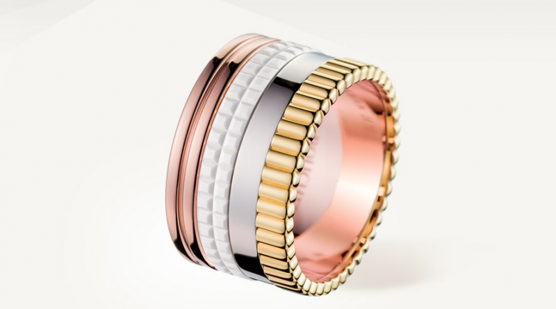 QUATRE WHITE EDITION LARGE RING Ring in yellow gold, white gold, pink gold and ceramic