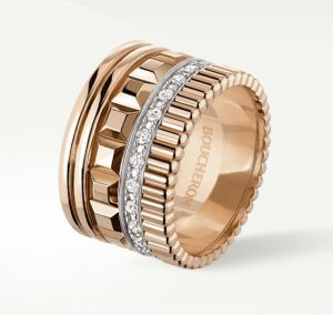 QUATRE RADIANT EDITION RING Ring set with pavé diamonds, in white and yellow gold.
