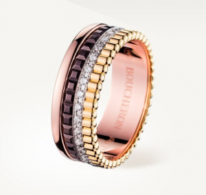 QUATRE CLASSIQUE SMALL RING Yellow, white, pink gold ring and brown PVD