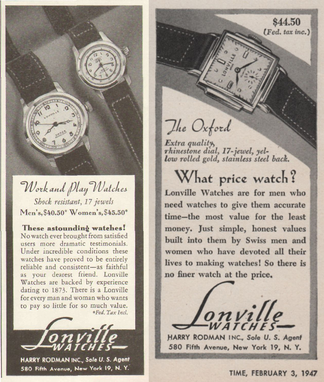 (L) 1948 Lonville Work and Play 17 Jewels Watch Advertisment. (R) 1947 Lonville Oxford 17-Jewel Dress Watch Advertisment.