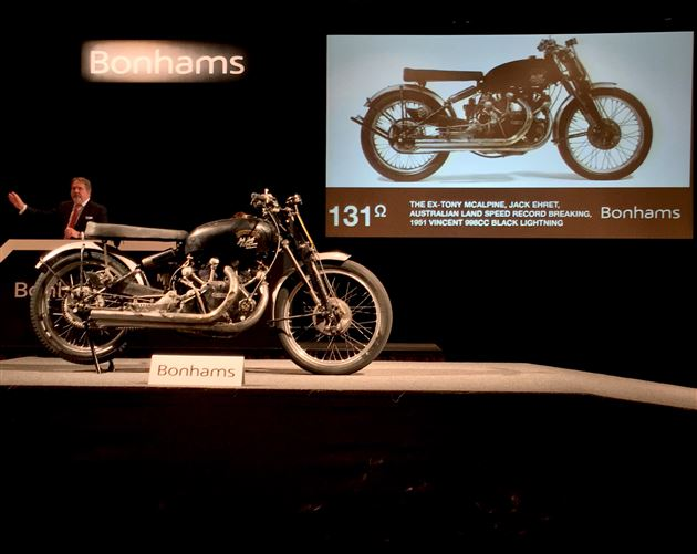 The record-setting 1951 Vincent Black Lightning on the auction block at the Bonhams motorcycle auction in Las Vegas. Photo courtesy of Bonhams.