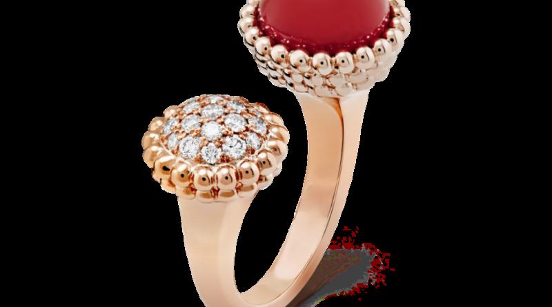 Van Cleef & Arpels Perlée - pink gold, carnelian, and round diamonds